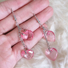 Lovely Ladies Junior Silver-Color Chains Pink Clear Plastic Hearts Hook Earrings