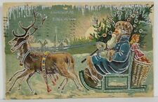 Blue Robed Santa Claus Silver Gilded Embossed 1907 Tuck Postcard O8