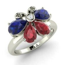 1.9Ct Real Diamond Natural Sapphire & Ruby Gemstone Ring Platinum Rings Size 6 7