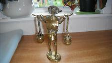 Vintage Brass / Bronze Sculpture Chinese Gentleman Carrying Water Buckets
