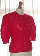 "Cerise Angora Mix Jumper, Handknit To Vintage 1940's Pattern, size 40"" Bust"