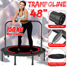 48'' Foldable Trampoline Exercise Fitness Rebounder Cardio Trainer Gym + Handle