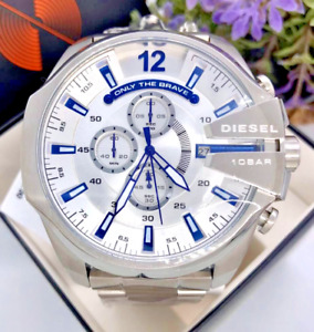 Diesel Mega Chief Silver Stainless Steel White Dial Chronograph DZ4477 TWO LEFT