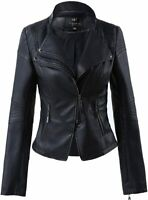 New Womens Leather Jacket Genuine Lambskin Real Biker Moto Black Slim Fit Coat