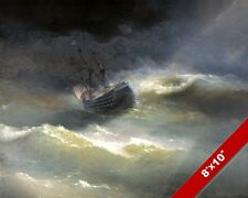 TEMPEST TOSSED SHIP AT SEA SAILBOAT SEASCAPE PAINTING ART REAL CANVAS PRINT