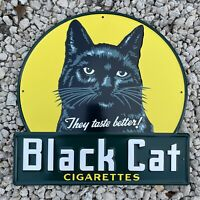VINTAGE BLACK CAT CIGARETTES EMBOSSED METAL PORCELAIN SIGN USA GAS STATION OIL