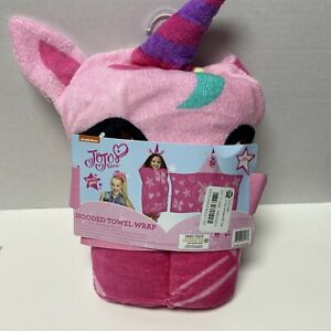 "Jojo Siwa Unicorn Hooded Bath Towel Pink, 24"" X 50""NEW"