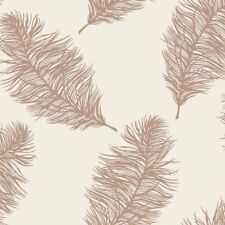Holden Decor Cream and Rose Gold Feather Wallpaper Metallic Effect 12627