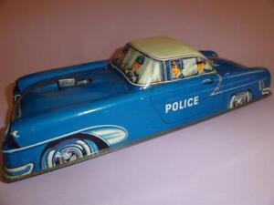 PN-NIEDERMEIER POLIZEI POLICE CAR WEST GERMANY 1950's BLUE TIN FRICTION RARE!