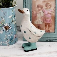 15cm Shabby Chic Duck With Polka Dot Wellies Decorative  Ornament Figurine Gift