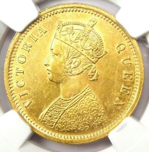 1862-C India Victoria Gold Mohur Coin 1R - NGC Uncirculated Details (UNC MS)