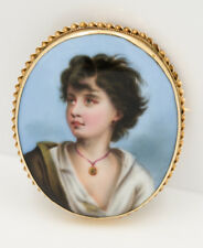 Large Vintage Neapolitan Fisher Handpainted Porcelain Brooch Pin 14K Gold