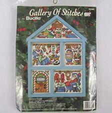 Bucilla Christmas Santas House Wood Hutch Cross-Stitch Kit 33385 Frame