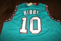 MEMPHIS GRIZZLIES MIKE BIBBY SIGNED TEAL JERSEY w/COA XL HARDWOOD CLASSICS