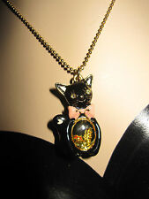BETSEY JOHNSON RARE BLACK CAT WITH FISH IN BELLY NECKLACE