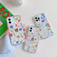 For iPhone 12 11 Pro Max XR XS 8 7 Plus 360 Clear Flower Printed Soft Case Cover