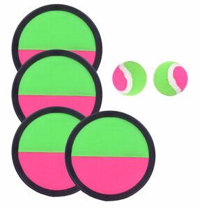 Klettball - Spiel Catchball mit 4 Fangscheiben 2 Bälle Klettballspiel