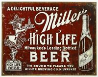 Miller High Life Beer Vintage Retro Tin Metal Sign 13 x 16in
