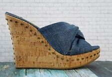 JIMMY CHOO 37 Wedges Platforms Denim Blue Open Toe Heels 6.5 New With Box