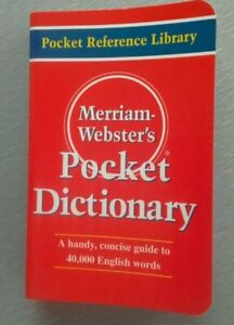"Merriam-Webster's Pocket Dictionary.  Measures: 3.1/2""x5.1/2""x0.3/4"""