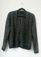 M&S Womens Cardigan Size 16 Ladies WOOL MOHAIR Blend Striped Zip Grey Black Chic