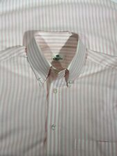 Borrelli Napoli Pink White Stripe Button Down Shirt Mens Sz S Handmade Italy