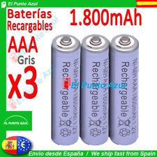 3 Pilas AAA Recargables 1800mAh ★ Altsima Capacidad - 1,2 voltios ★ Battery pcs