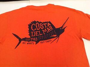 New Authentic Costa Del Mar Sailfish Short Sleeve T-Shirt Orange  - Small
