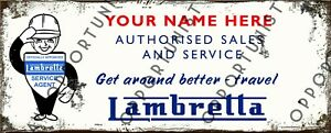 Vintage Personalised Lambretta Sales & Service LI SX LD TV Metal Sign 28 x 11cm