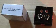AVON RED CZ & HEART STUD EARRINGS SET IN GIFT BOX