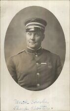 US Army Soldier in Uniform Uncle Charles Sharp Shooter Camp & Medal RPPC
