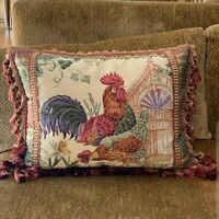 "Gorgeous Hand Embroidered Rooster Needlepoint/Silk Pillow 17"" x 24"""