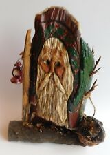 Hand Carved Folk Art Wood Father Christmas Santa Signed by Artist & Dated