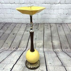 "Vintage MCM Ashtray Stand Yellow Metal Ceramic Glass Globe Wood Brass Handle 24"""