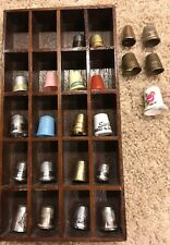 Lot Of 23 Vintage Thimbles With Display Case