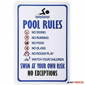 Pool Rules Swim at Your Own Risk Warning Metal Safety Tin Signs Swimming Pool US