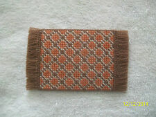 "Doll House Handmade Needlepoint Bown & Orange Diamond Pattern Rug -2 3/8"" x 4"""