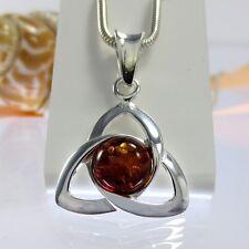A433 triquetra Celtic Celtica Bernstein Amber colgante 925 joyas de plata