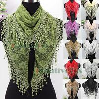 Elegant Fashion Women's Floral Net Lace Triangle Scarf Tassel Shawl Mantilla New