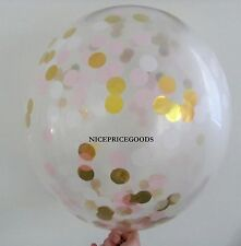 1 CLEAR 18INCH/45CM LT PINK/WHITE/GOLD CONFETTI BALLOON. BABY EVENTS WEDDINGS