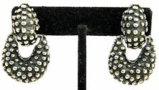 "BIG 1.5"" Vtg STUDIO Modernist STERLING SILVER Studded Lost Wax Cast DOT Earrings"