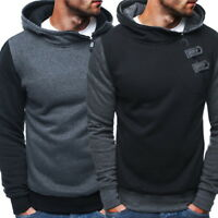 Mens' Sweatshirts Hooded Hoodies Oblique Slim Fit Zipper Pullover Tops