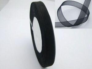"50 Yards 3/8"" (10mm) Black Wedding Crafts Sheer Organza Ribbon"