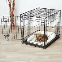 24in Small Pet Wire Cage Folding Metal Dog Crate Litter Pan Portable Kennel New