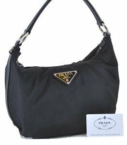 Authentic PRADA Nylon Leather Shoulder Hand Bag Black D3974