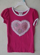 "Fleurish Girl Embellished Ruffle ""Heart"" Pink Short Sleeve T-Shirt 4 NWT G82214"