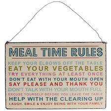 dotcomgiftshop MEAL TIME RULES HANGING METAL WALL SIGN