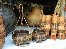 AUNK Interwoven TH Bamboo Shoulder Pole stick Basket 1Set 3 pieces Handcraft new