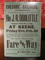 ANTIQUE POST CIVIL WAR CHESHIRE RR POSTER KEENE NH WI DOOLITTLE LINCOLN INDIANS