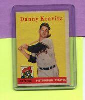 1958 TOPPS BASEBALL CARD #444 DANNY KRAVITZ PITTSBURGH PIRATES